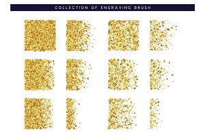 Set Brush stipple gold pattern for design. Golden Confetti texture
