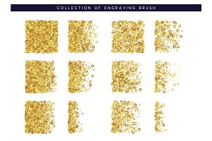Golden sequins texture. Set Brush stipple gold pattern for design.