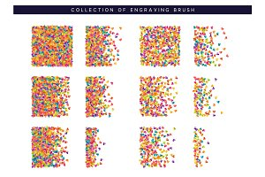 Brush stipple colored confetti of hearts pattern for design