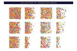Brush stipple colored confetti of stars pattern for design