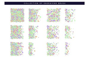 Set of brush stipple hologram pattern for design