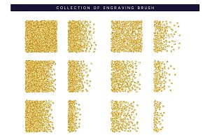 Gold sequins texture. Set Brush stipple pattern for design