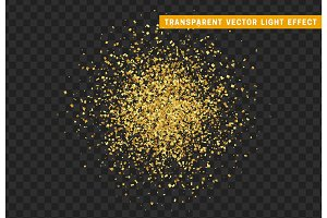 Golden confetti isolated on background with transparency effect