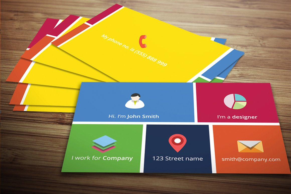 Metro Business Card Business Card Templates Creative Market - Windows business card template