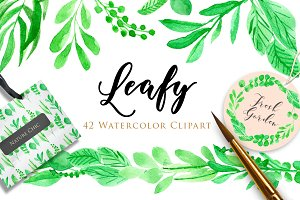 50%OFF! Leafy Watercolor Clipart