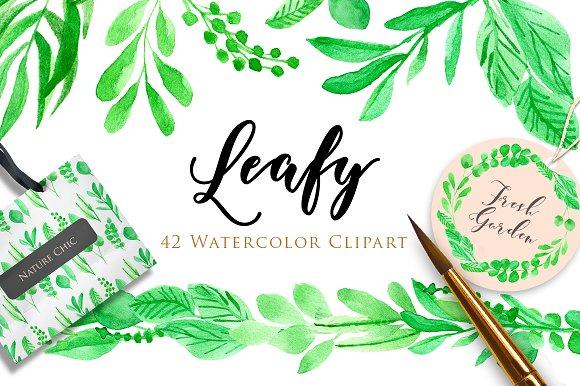 50%OFF! Leafy Watercolor Clipart