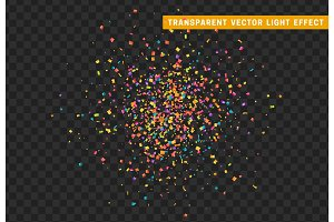 Colorful confetti isolated on background with transparency effect