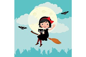 Little witch flying on a broom