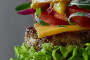 Close-up of home made tasty burger