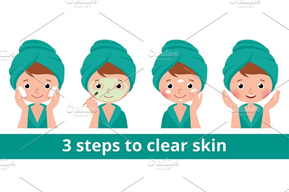 Woman caring for facial skin in Illustrations