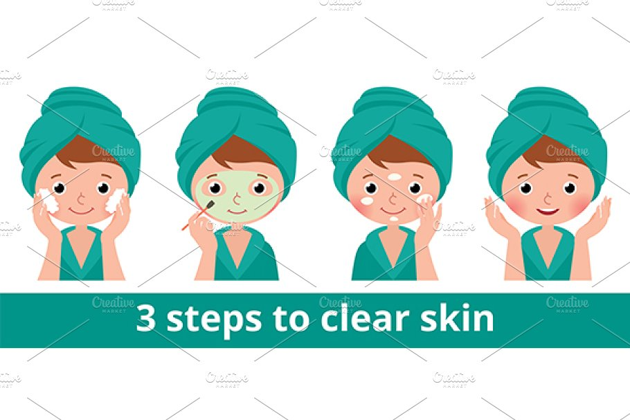 Woman caring for facial skin in Illustrations - product preview 8