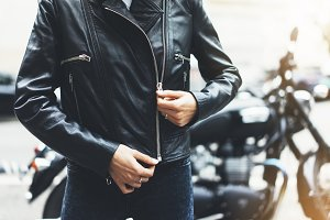 Girl in a leather jacket