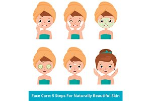 Woman caring for facial skin