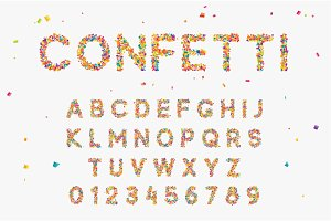 Font set with letters from multi-colored paper confetti