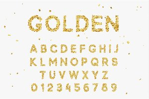 Gold Font set with letters from multi-colored paper confetti