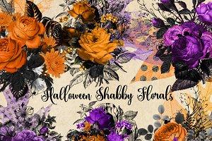 Halloween Shabby Floral Clipart