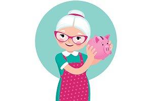 Grandmother shakes a piggy bank