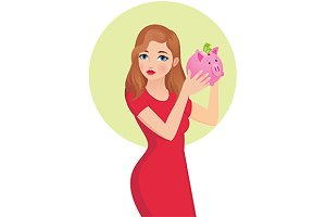 Woman shaking a piggy bank