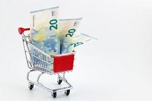Metal shopping cart with euros