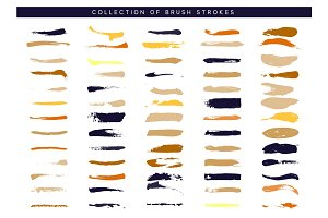 Brush stroke. Paint collection of ink brushes