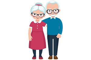 Elderly loving couple