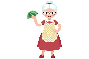 Senior housewife holding a money