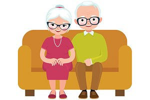 Elderly couple husband and wife