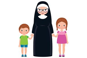 Senior nun and children