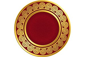 Golden round frame with Greek Meander pattern