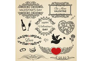 Valentines design elements
