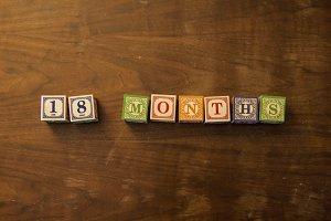 18 months in wooden blocks
