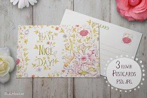 3 Flower Postcard
