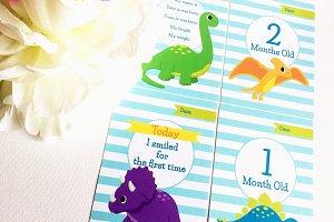 Dinosaurs baby milestone cards