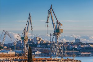 Industrial cargo cranes in the dock