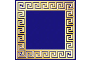 Golden square frame with Greek Meander pattern