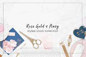 (4) Stock Images - Rose Gold, Navy