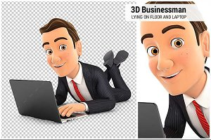 3D Businessman Lying on the Floor