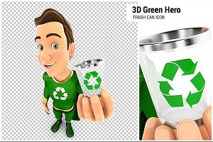 3d green hero holding trash can icon