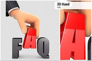 3D Hand and Word FAQ Concept