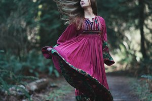 Vintage Bohemian Girl in Motion