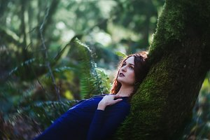 Beautiful Woodland Woman in Blue