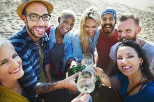 Diverse friends partying outdoor