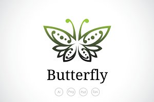 Butterfly Crest Logo Template