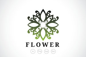 Healthy Flower Crest Logo Template
