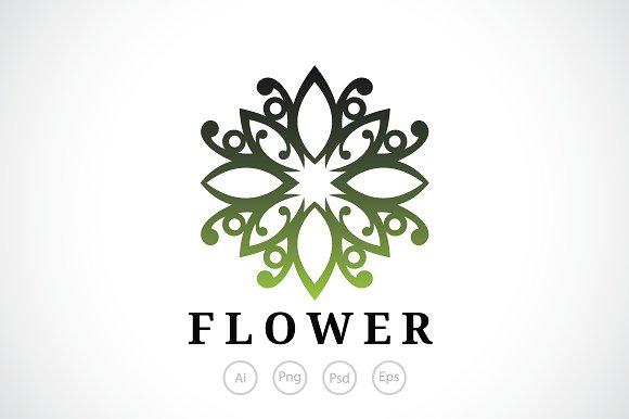Healthy Flower Crest Logo Template