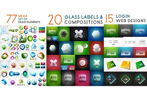 Glossy glass banners with reflections, vector huge mega collection