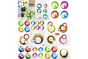 Collection of swirls and circles abstract banners