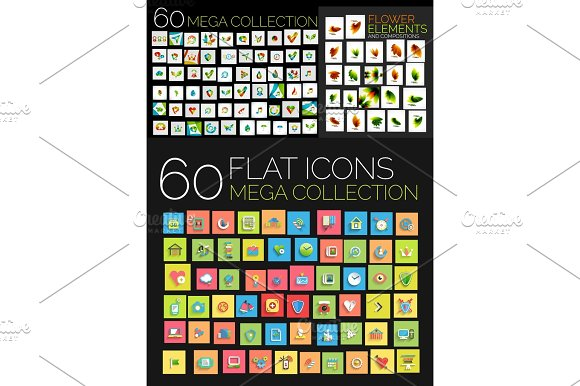 Set Of Square Flat Web Icons