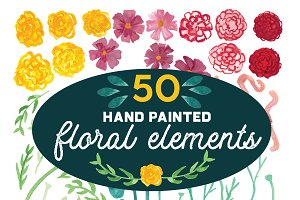 50 Hand-painted Floral Elements