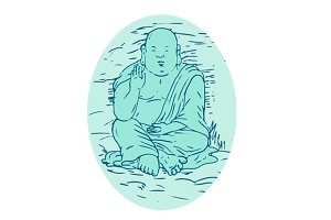 Gautama Buddha Lotus Pose Drawing